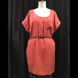 Coral blouse dress with belt